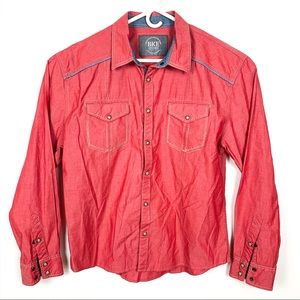 BKE | Relaxed Fit Chambray Snap Up Shirt